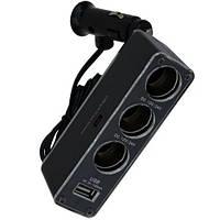 Разветвитель автоприкуривателя, штекер прикуривателя - 3 гнезда прикуривателя + гнездо USB c кабелем