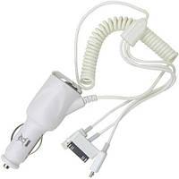 Автозарядка, штекер прикуривателя - штекер iPhone4, штекер iPhone5, штекер micro USB с кабелем