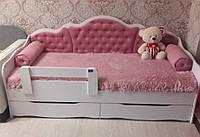Детская кровать тахта Л-6 для девочки с бортиком мягкой спинкой без подушек, Кровать с ящиками детская