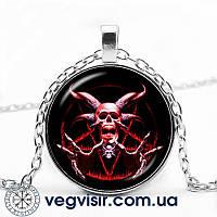 Кулон Пентаграмма Красный Козел Бафомет череп в виде пятиконечной звезды Магия Колдовство амулет подвеска