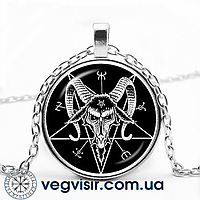 Кулон в виде пятиконечной звезды Козел Бафомет Пентаграмма череп Магия Колдовство амулет подвеска