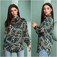 Жіноча стильна шовкова сорочка з принтом Батал
