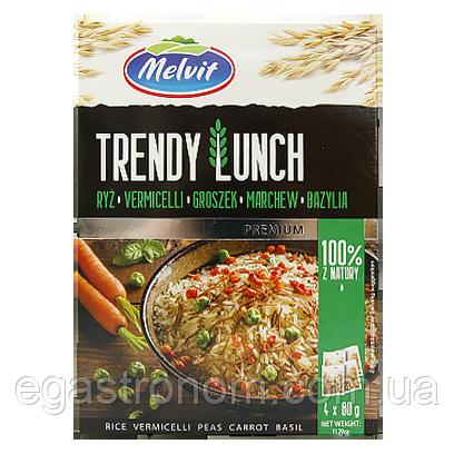 Каша порційна Мелвіт рис вермишель горох морква базилік Melwit trendy lanch 4x80g 9шт/ящ (Код : 00-00005735)