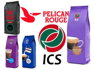 Ингредиенты ICS, кофе в зернах, молоко, стаканы, размешиватели