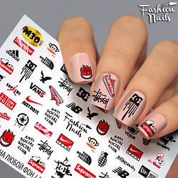 Слайдер-дизайн для нігтів Логотипи Відомих Брендів Наклейки для нігтів Бренди Adidas М301