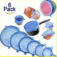 Набір багаторазових силіконових кришок для посуду 6 штук Super Stretch SILICONE Lids