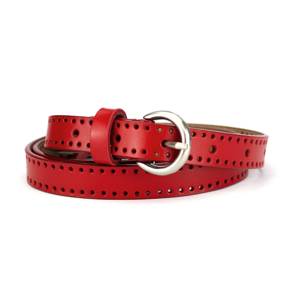 Женский кожаный ремень узкий красный PS-2062 (115 см)