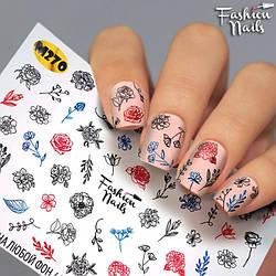 Слайдеры водные наклейки ЦВЕТЫ Растения Слайдер Дизайн Цветы для маникюра Fashion Nails М270