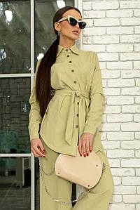 Жіноча сорочка з льону з поясом (Дэйо ri)