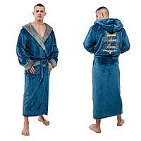 Мужской банный халат с капюшоном и индивидуальной вышивкой