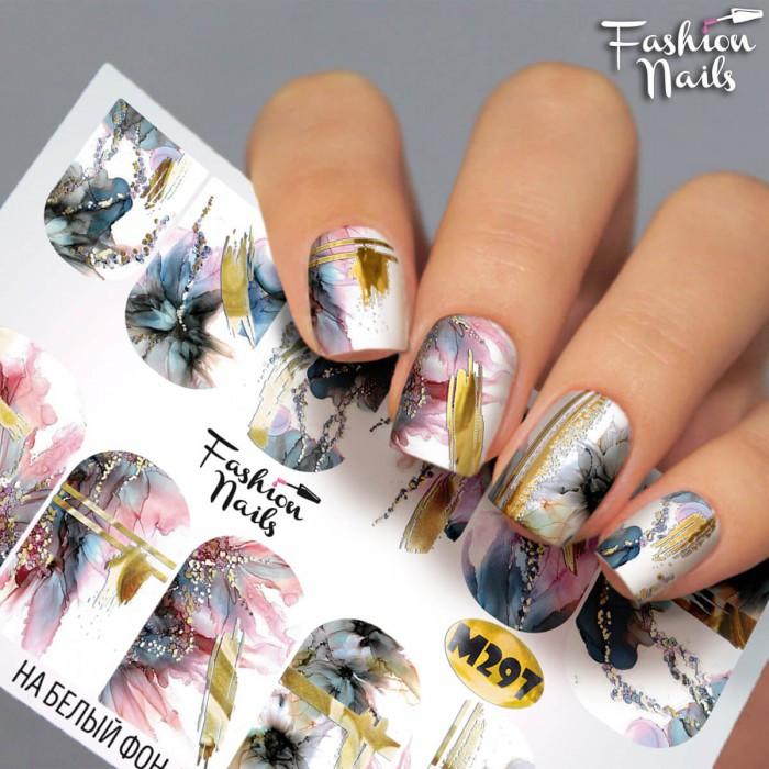 Слайдеры водные наклейки ЦВЕТЫ Мрамор Слайдер Дизайн Цветы для маникюра Fashion Nails М297
