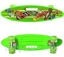 Скейт (пенні борд) Penny board (світяться колеса) САЛАТОВИЙ арт. 0461-2