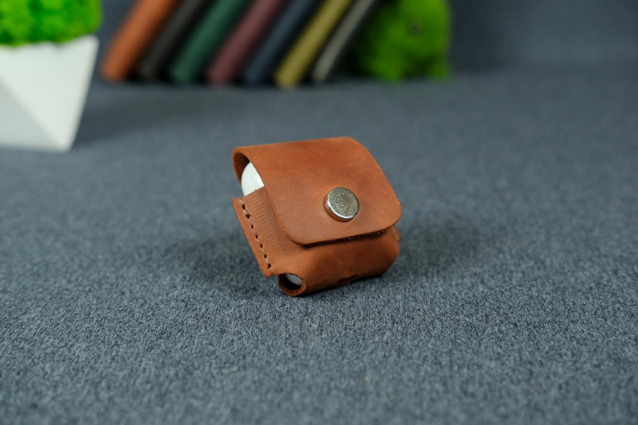 Чохол для AirPods 1, AirPods 2, матова Вінтажна шкіра колір Коньяк