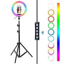 Кольцевая LED лампа RGB диаметром 33 см, штативом 2.1 метра и с держателем для телефона