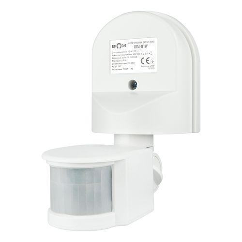 Инфракрасный датчик движения BIOM IRM-01W max 1200Вт 180°, настенный, белый