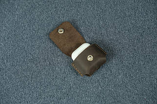Чохол для AirPods 1, AirPods 2, матова Вінтажна шкіра, колір Шоколад, фото 3
