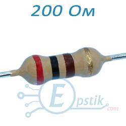 Резистор 200 Ом, ±5%, 0.25Вт, выводной