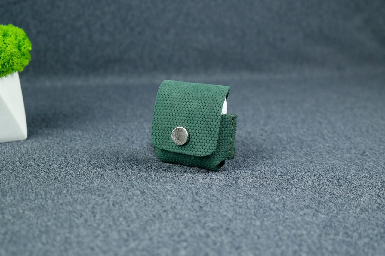 Чохол для AirPods 1, AirPods 2, матова Вінтажна шкіра, колір Зелений, тиснення №4