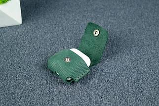 Чохол для AirPods 1, AirPods 2, матова Вінтажна шкіра, колір Зелений, тиснення №4, фото 3