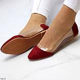 Женские балетки бордовые- марсала эко замш + силикон, фото 3