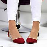 Женские балетки бордовые- марсала эко замш + силикон, фото 8