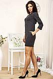 Сукня жіноча міні в клітку рукав 3/4 (чорний, р. S-М), фото 3
