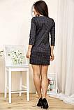 Сукня жіноча міні в клітку рукав 3/4 (чорний, р. S-М), фото 4