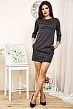 Сукня жіноча міні в клітку рукав 3/4 (чорний, р. S-М), фото 2