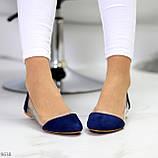 Женские балетки синие- электрик эко замш + силикон, фото 2