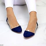 Женские балетки синие- электрик эко замш + силикон, фото 4