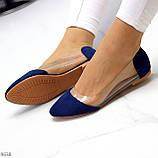Женские балетки синие- электрик эко замш + силикон, фото 6