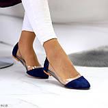 Женские балетки синие- электрик эко замш + силикон, фото 7
