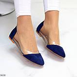 Женские балетки синие- электрик эко замш + силикон, фото 8