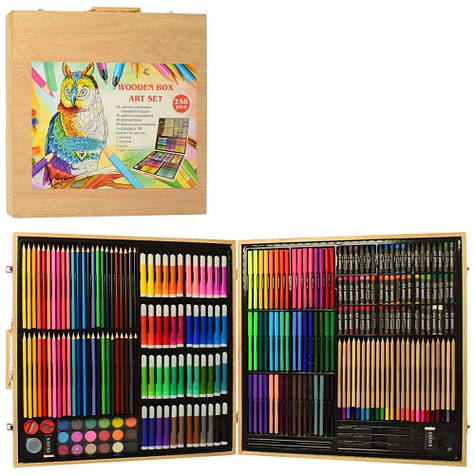 Набор для рисования в деревянном чемодане на 258 предметов