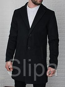 Мужское кашемировое пальто, чёрное