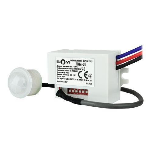 Інфрачервоний датчик руху BIOM IRM-05 max 100Вт 360 °, врізний, білий