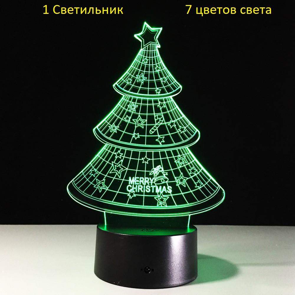 """3D Светильник, """"Ёлка"""", Подарки на новый год ребенку, Подарки ребенку на новый год, Подарок для детей"""