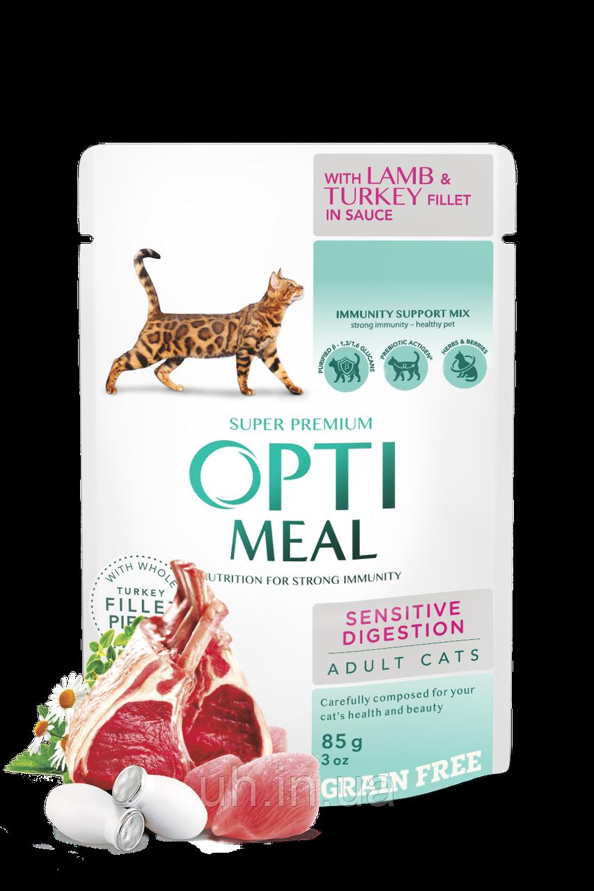 OPTIMEAL Вологий корм для дорослих котів з чутливим травленням з ягня та індичною 0.085 КГ х 12шт.