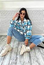 Женская куртка-рубашка из турецкого кашемира. Свободная, в клеточку с карманами. Голубая