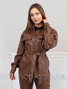 Жіноча сорочка з екошкіри з поясом (Белуччі lzn)