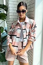 Женская куртка-рубашка из турецкого кашемира. Свободная, в клеточку с карманами. Розовая