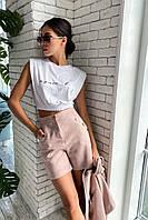 Женская короткая футболка-топик с резинкой на талии. Вискоза. Белая