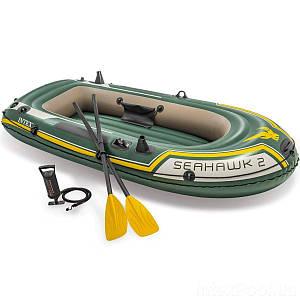 Двухместная надувная лодка Intex 68347 Seahawk 2 Set, 236 х 114 см,веслами и насосом, (Оригинал)