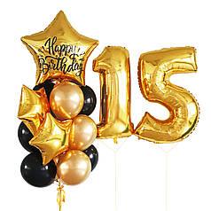 Композиция на День Рождения с цифрами и связкой в черно-золотом цвете