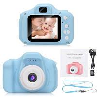 Детский цифровой фотоаппарат голубой, с играми фотоаппарат для детей Full HD 1080P