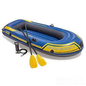 Двухместная надувная лодка Intex 68367 Challenger 2 Set, 236 х 114 см, с веслами и насосом, (Оригинал)