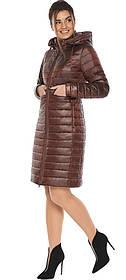Куртка з капюшоном каштанова жіноча модель 68410