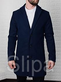 Мужское кашемировое пальто, тёмно синее