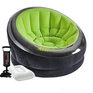 Надувное кресло Intex 66581-2, 112 х 109 х 69 см, с ручным насосом и подушкой, зеленое, (Оригинал)