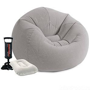 Надувное кресло Intex 68579-2, 107 х 104 х 69 см, с ручным насосом и подушкой, (Оригинал)